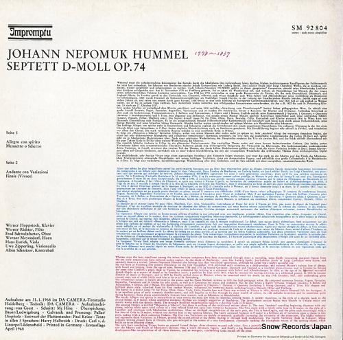 V/A hummel; septett d-moll op.74 SM92804 - back cover
