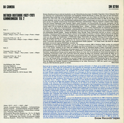 V/A dietrich buxtehude; kammermusik teil 2 SM92104 - back cover