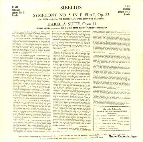TUXEN, ERIC / THOMAS JENSEN sibelius; symphony no.5 in e flat major (opus 82) LL634 - back cover