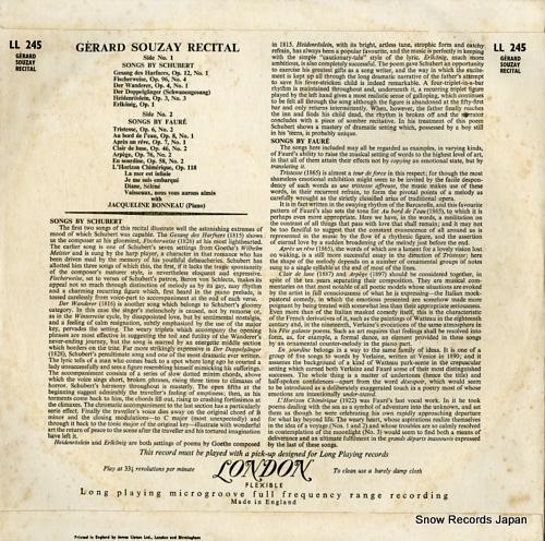 SOUZAY, GERARD recital LL245 - back cover