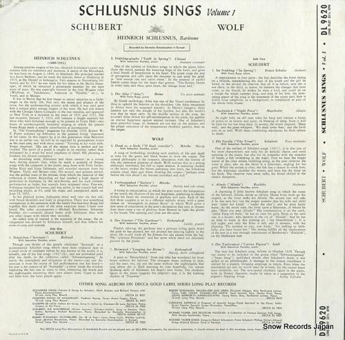 SCHLUSNUS, HEINRICH schlusnus sings volume 1 DL9620 - back cover