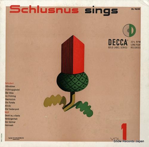 SCHLUSNUS, HEINRICH schlusnus sings volume 1 DL9620 - front cover