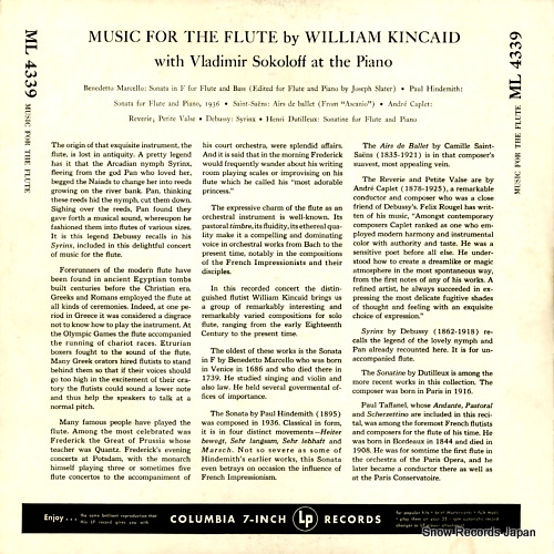 KINCAID, WILLIAM music for the flute ML-4339 - back cover