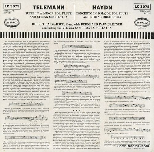 BARWAHSER, HUBERT telemann; suite in a minor for flute and string orchestra LC3075 - back cover