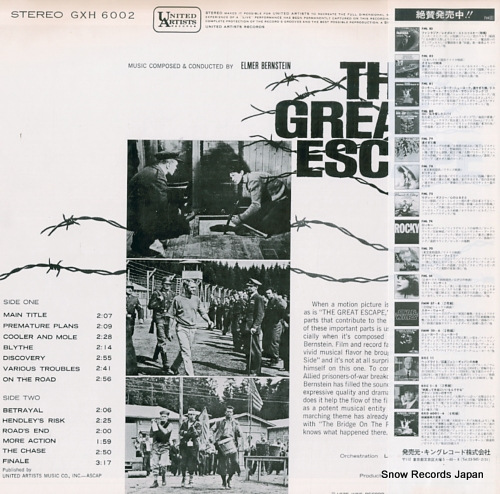 BERNSTEIN, ELMER the great escape GXH-6002 - back cover