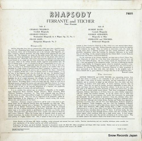 FERRANTE AND TEICHER rhapsody 78011 - back cover