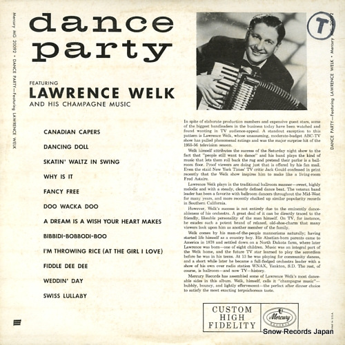 WELK, LAWRENCE dance party MG20092 - back cover