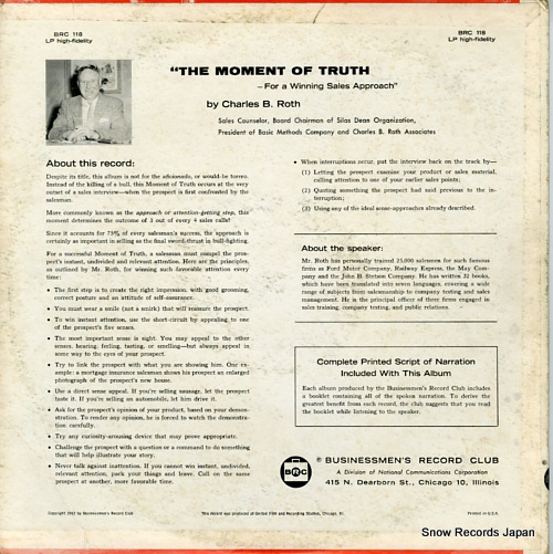 CHARLES B. ROTH the moment of truth BRC118