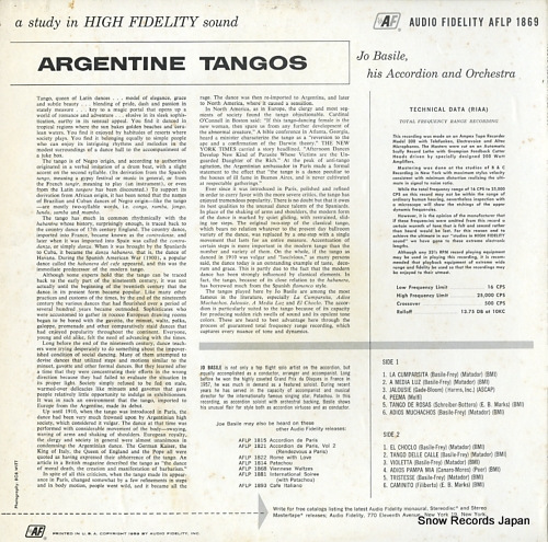 ジョス・バセリ argentine tangos AFLP1869