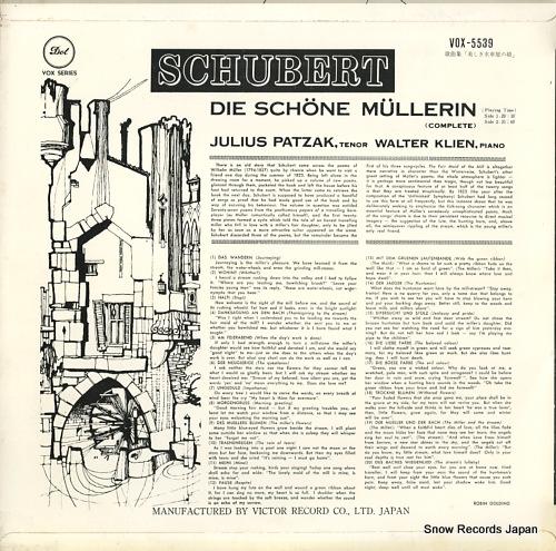 PATZAK, JULIUS schubert; die schone mullerin(complete) VOX-5539 - back cover