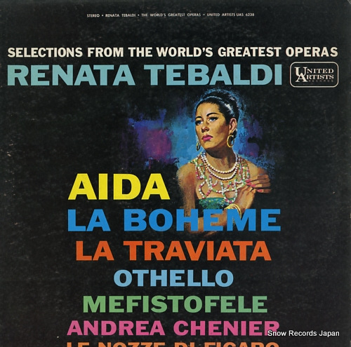 TEBALDI, RENATA selections from the world's greatest operas UAS6238 - front cover