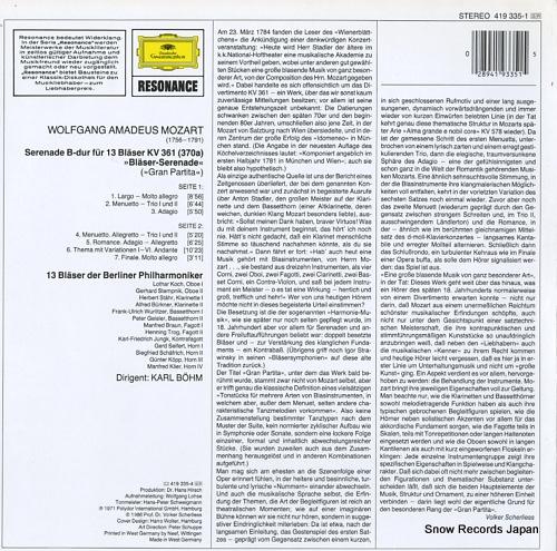 BOHM, KARL mozart; serenade b-dur fur 13 blaser kv361 419335-1 - back cover