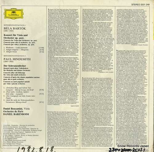BENYAMINI, DANIEL bartok; konzert fur viola und orchester 2531249 - back cover