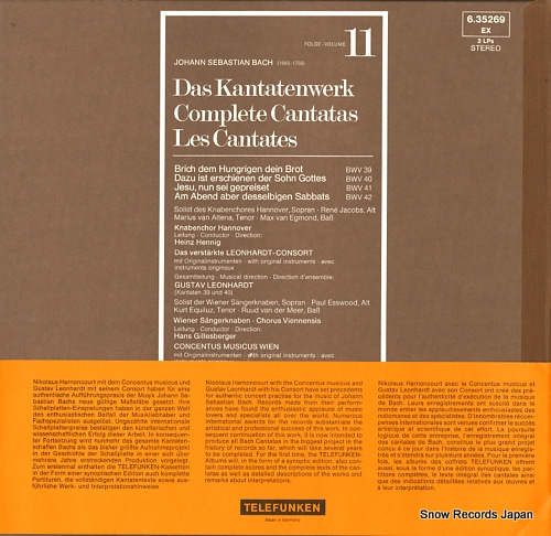 HARNONCOURT, NIKOLAUS / GUSTAV LEONHARDT bach; complete cantatas volume 11 6.35269/1-2(ISKW111/2)/SKW11/1-2 - back cover