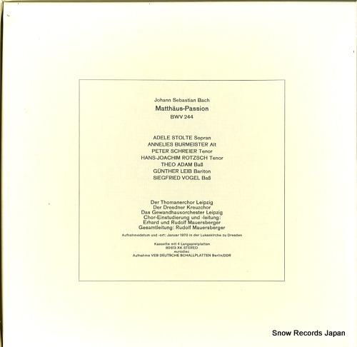 MAUERSBERGER, RUDOLF bach; matthaus-passion 80609XK - back cover