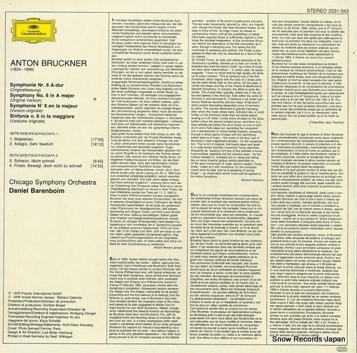 BARENBOIM, DANIEL bruckner; symphonie nr.6 2531043 - back cover