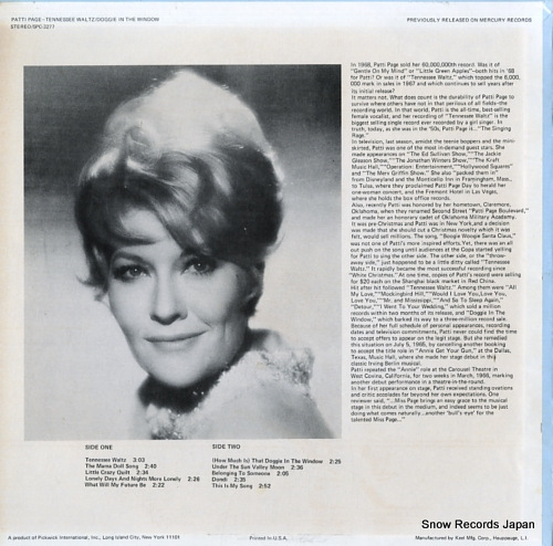 PAGE, PATTI tennessee waltz SPC-3277 - back cover