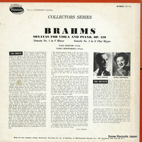 DOKTOR, PAUL brahms; two sonatas, op.120 W-9053 - back cover