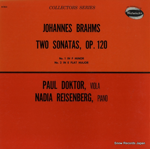 DOKTOR, PAUL brahms; two sonatas, op.120 W-9053 - front cover
