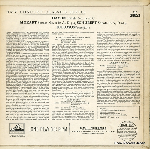 SOLOMON haydn; sonata no.35 in c XLP30053 - back cover