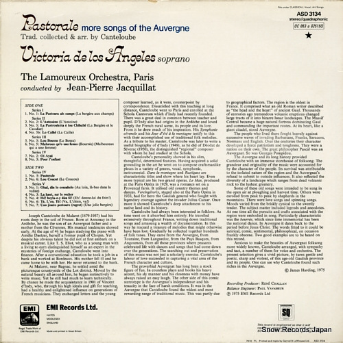 JACQUILLAT, JEAN-PIERRE pastorale more songs from the auvergne ASD3134 - back cover