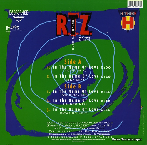 R.T.Z. in the name of love 2000529 - back cover
