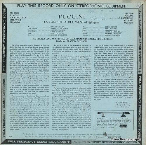 CAPUANA, FRANCO puccini; la fanciulla del west-highlights OS25196 - back cover