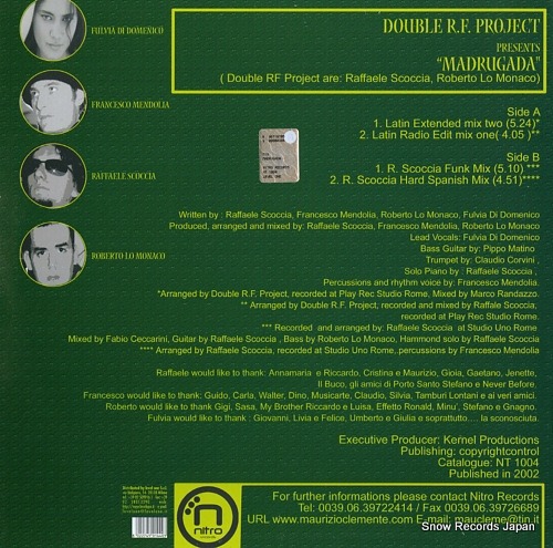 DOUBLE R.F. PROJECT madrugada NT1004 - back cover