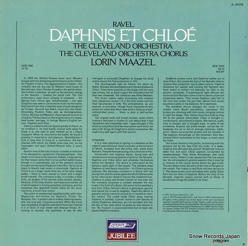 MAAZEL, LORIN ravel; daphnis et chloe JL41018 - back cover