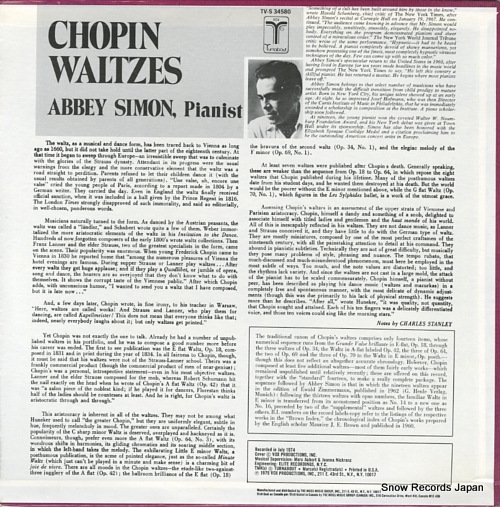 SIMON, ABBEY chopin waltzes TV-S34580 - back cover