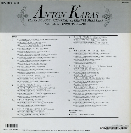 KARAS, ANTON plays famous viennese operetta melodies KUX-3284-V - back cover