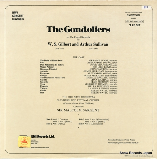 SARGENT, MALCOLM gilbert & sullivan; the gondoliers SXDW3027 - back cover