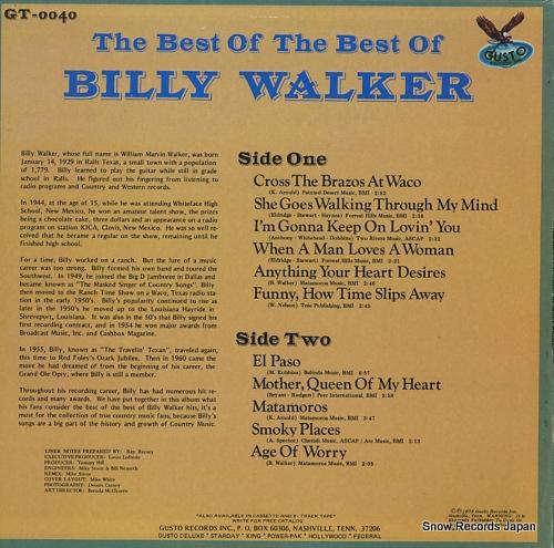 WALKER, BILLY the best of the best of billy walker GT-0040 - back cover