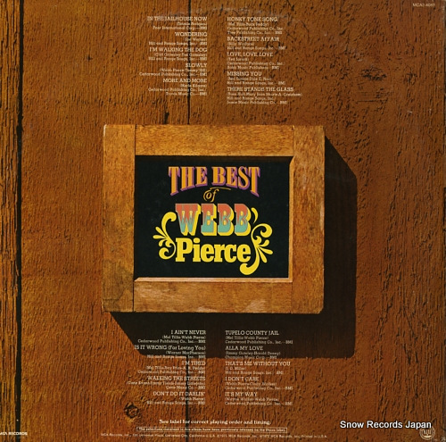 PIERCE, WEBB the best of webb pierce MCA2-4087 - back cover