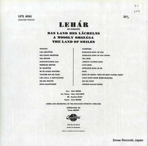 V/A lehar; das land des lacheins / mosoly orszaga / the land of smiles LPX6541 - back cover