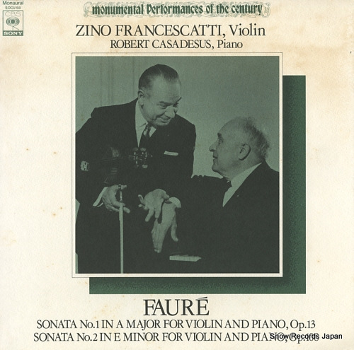 FRANCESCATTI, ZINO faure; sonata no.1 in a major, no.2 in e minor SOCU58 - front cover