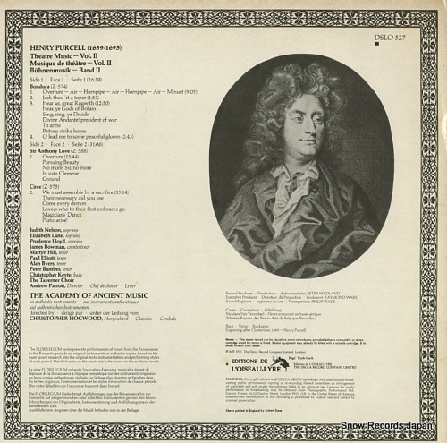 ACADEMY OF ANCIENT MUSIC, THE purcell; theatre music DSLO527 - back cover