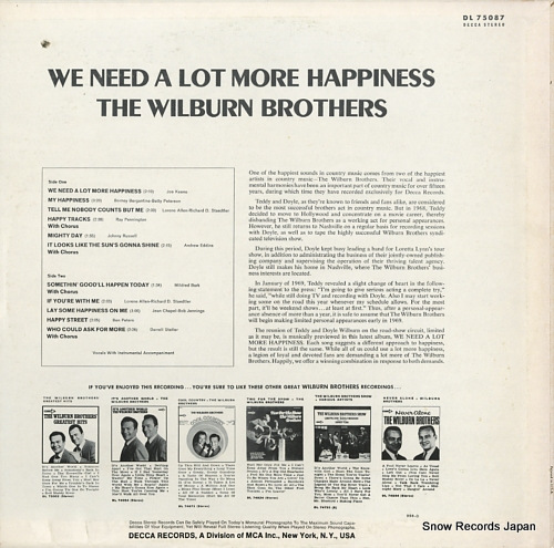 WILBURN BROTHERS, THE we need a lot more happiness DL75087 - back cover