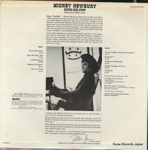 NEWBURY, MICKEY sings his own LSP-4675 - back cover