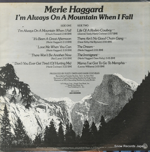 HAGGARD, MERLE i'm always on a mountain when i fall MCA-2375 - back cover