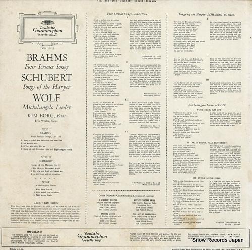 BORG, KIM brahms; four serious songs DGM12023 - back cover