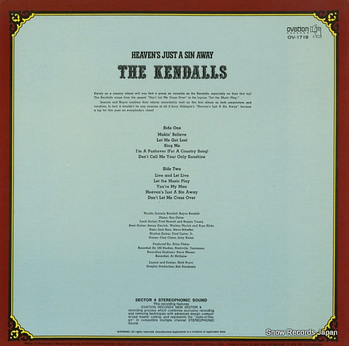 KENDALLS, THE heaven's just a sin away OV-1719 - back cover