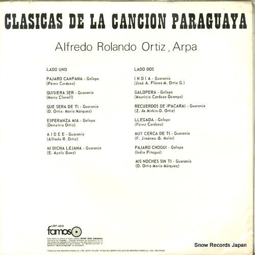 ORTIZ, ALFREDO ROLANDO clasicas de la cancion paraguaya ELDZ-821 / LADO-1 / LDF-1015 - back cover