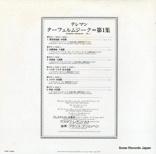 LEONHARDT, GUSTAV / FRANS BRUGGEN telemann; tafelmusik-teil i K19C-9270/1 - back cover