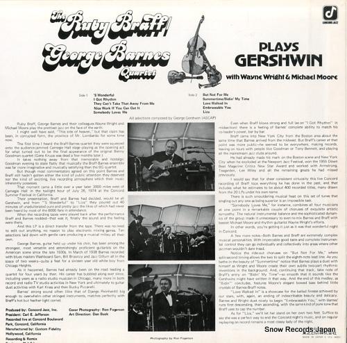 BRAFF, RUBY, AND GEORGE BARNES plays gershwin ICJ-80053 - back cover