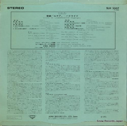 PRITCHARD, JOHN donizetti; lucia di lammermoor hightlights SLH3007 - back cover