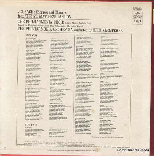 KLEMPERER, OTTO bach; st. matthew passion S36162 - back cover