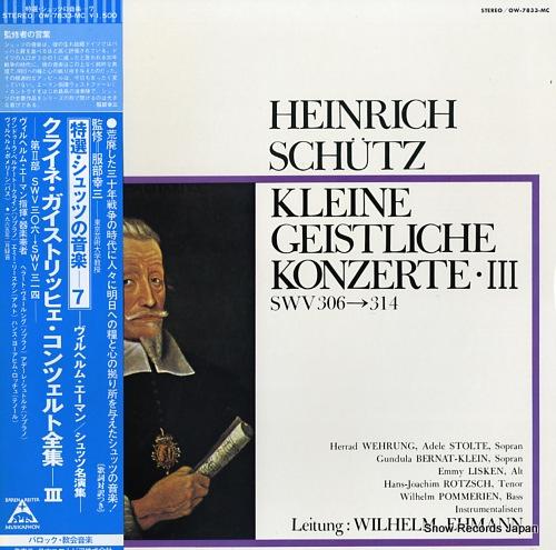EHMANN, WILHELM schutz; kleine geistliche konzerte iii swv306-314 OW-7833-MC - front cover