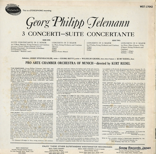 REDEL, KURT telemann; 3 concerti-suite concertante WST-17042 - back cover