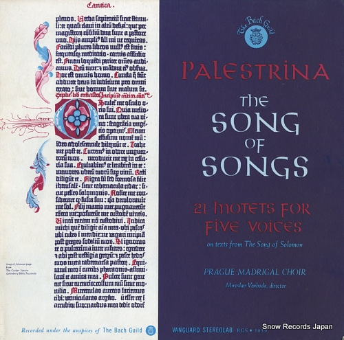 VENHODA, MIROSLAV palestrina; the song of songs (21 motets for five voices) BGS5059 - front cover